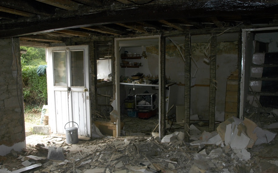 The interior of a traditional 18th century stone cottage in Brushford, Dulverton during renovation by Exmoor Builders