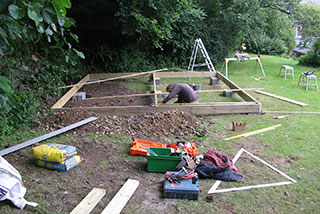 Building the floor foundation framework of the summerhouse