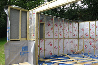 Insulated walls of the summerhouse