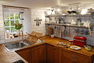 The brand new kitchen in the restored cottage
