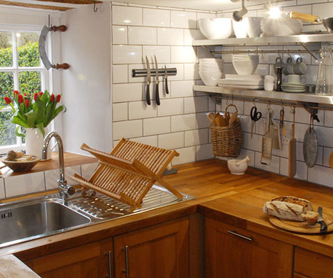 Photo of renovated kitchen in a cottage restoration in Brushford, Somerset