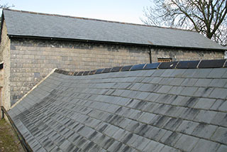 The restored external barn roof