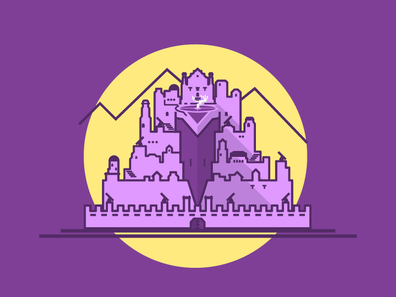 This is an illustration of Minas Tirith inspired by Dribbble.