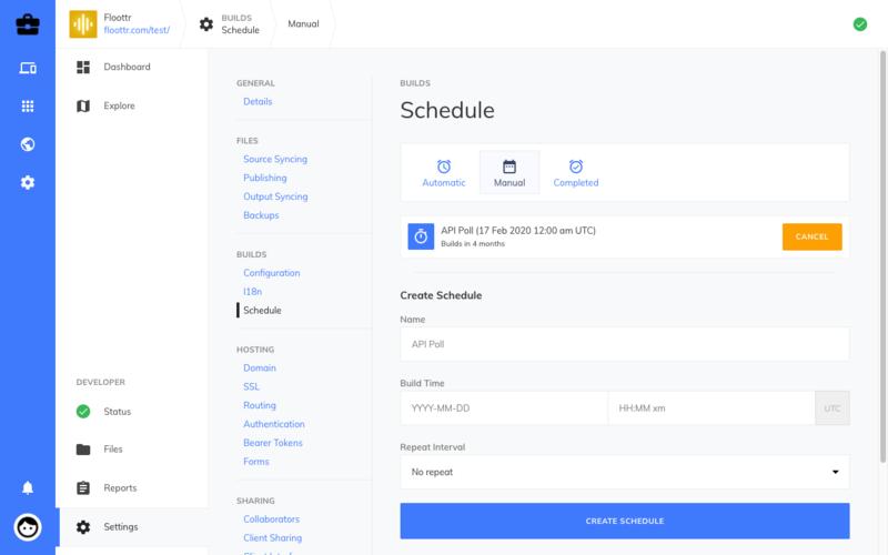 Site Settings Manual Build Interface