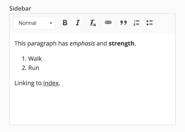 HTML Rich Text interface