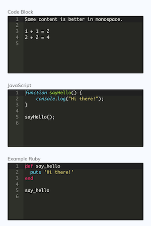 Code Block interface