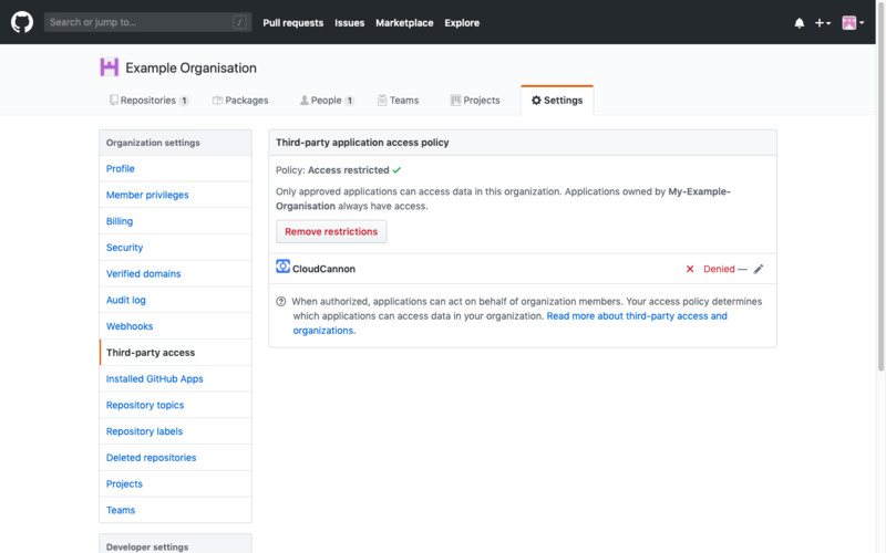 GitHub Organisation settings