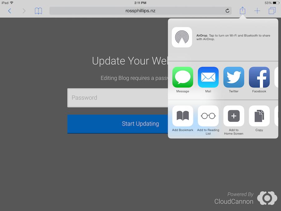 Adding to iOS Home Screen