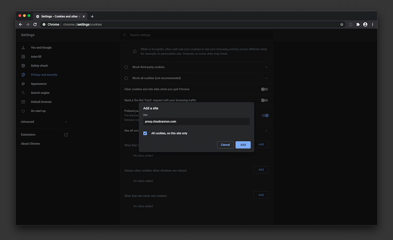 Google Chrome cookie settings add site form