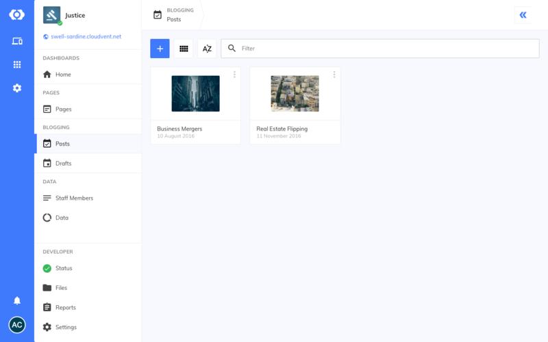 Empty blogging interface