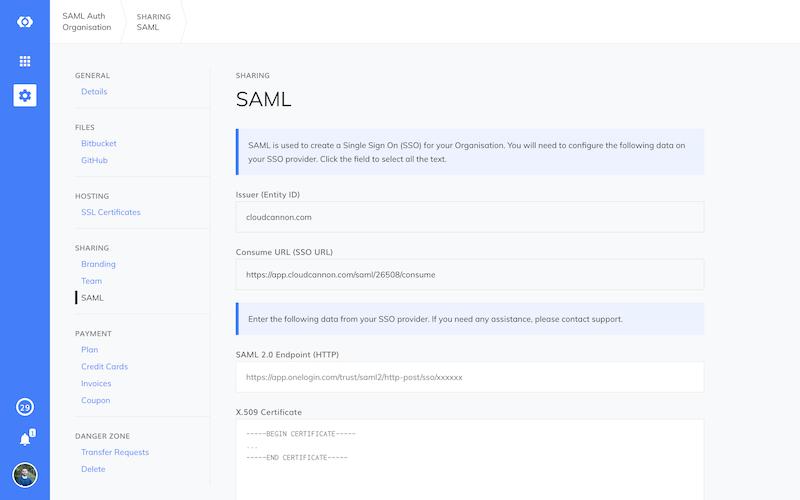 SAML details