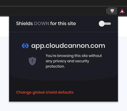 Brave shields down menu