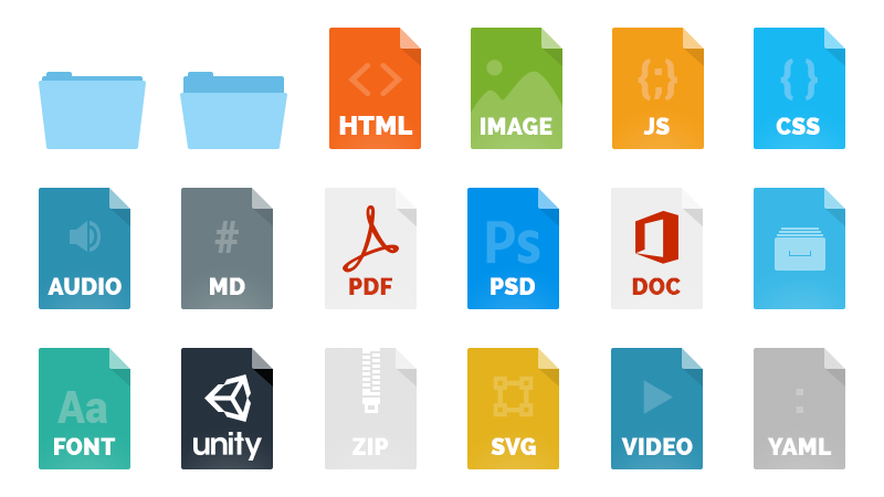 Example file type icons