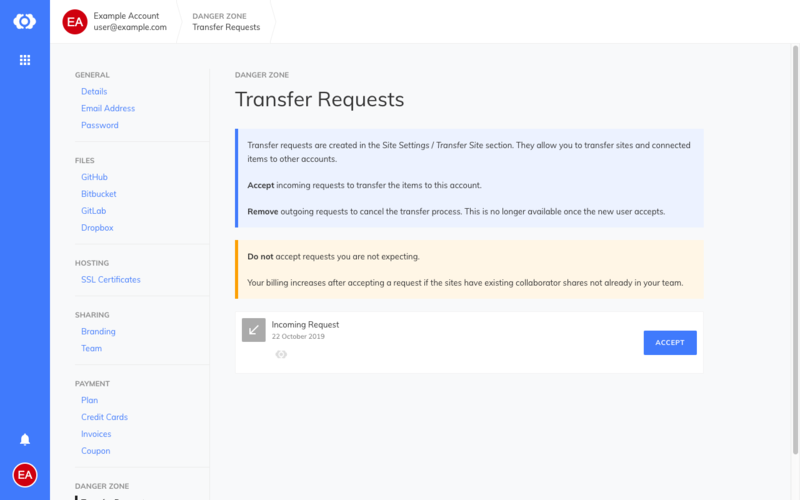 The transfer list on the receiving account