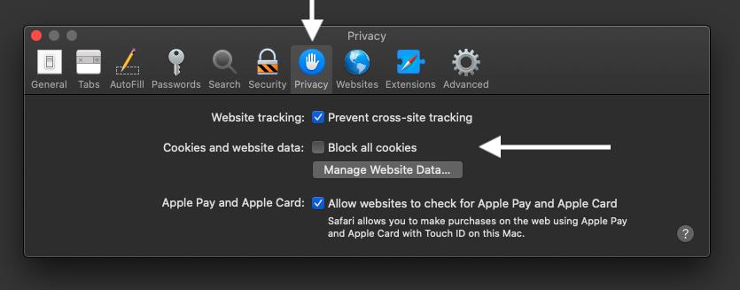 Safari settings