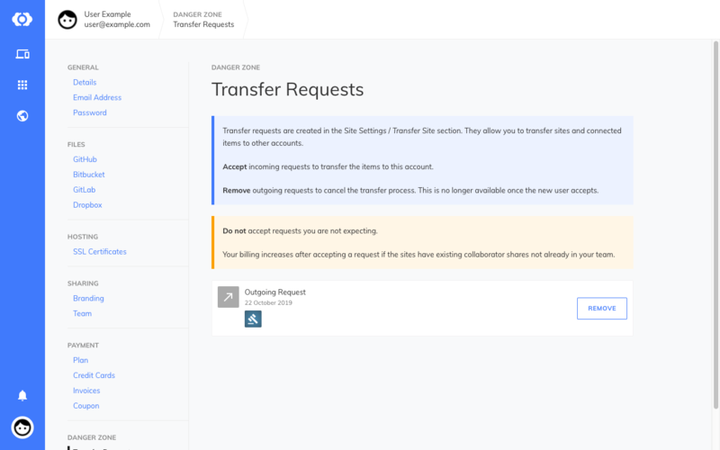 The transfer list on the original account