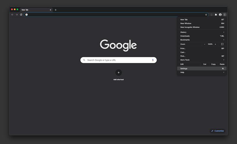 Google Chrome menu open