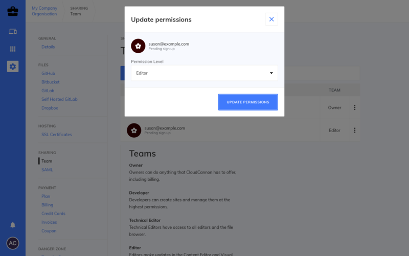 Updating team members permissions