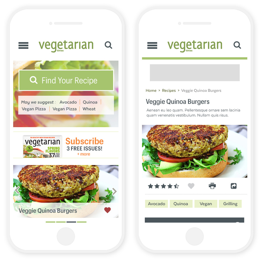 Vegetarian Times Mobile Homepage and Recipe