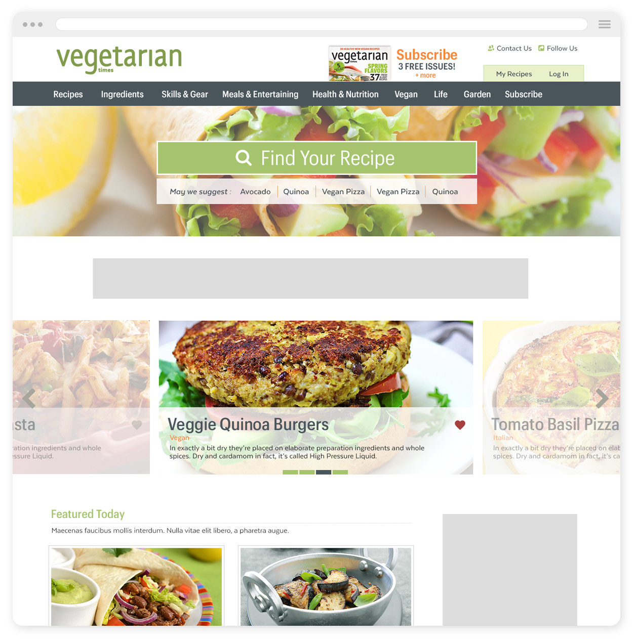 Vegetarian Times Desktop Homepage