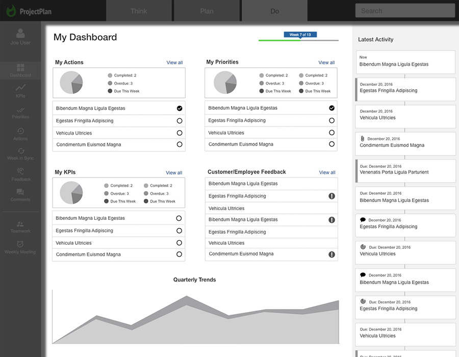 Business Execution SaaS New UX - Dashboard for easy access and overview
