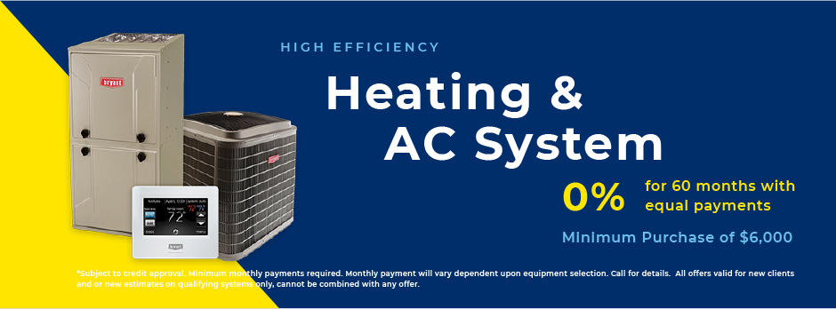 0 percent, 60 month financing, heating and A/C system new installation