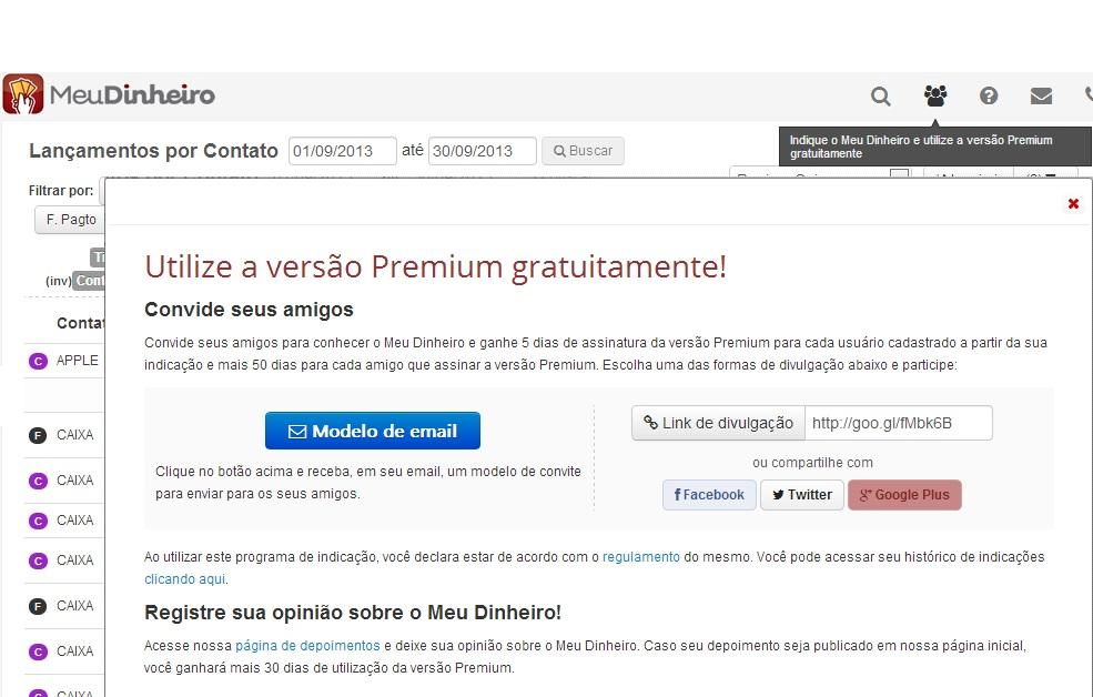 Que tal utilizar a versão Premium do Meu Dinheiro gratuitamente?