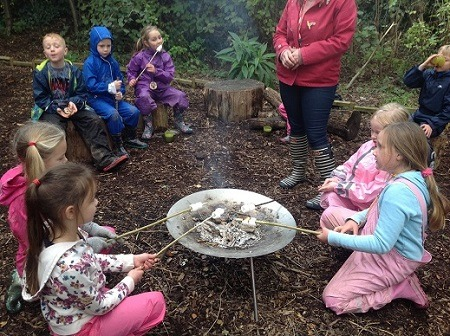 Toasting marshmallows on a camp fire.