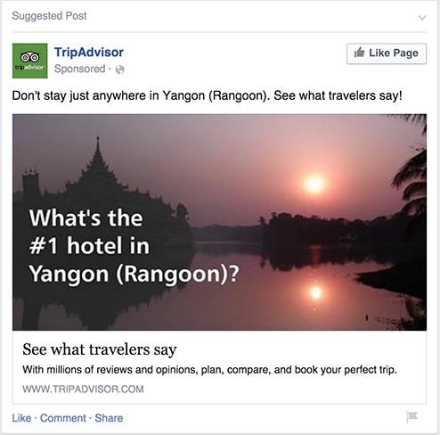 Remarketing ad on Facebook by Tripadvisor