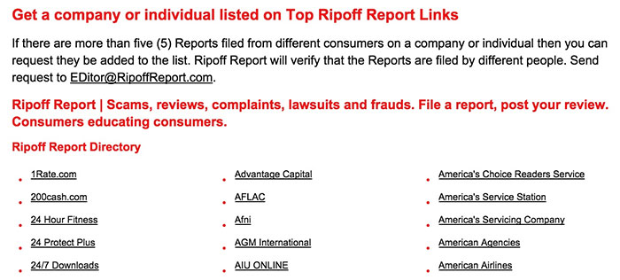 Ripoff Report home page links to popular companies