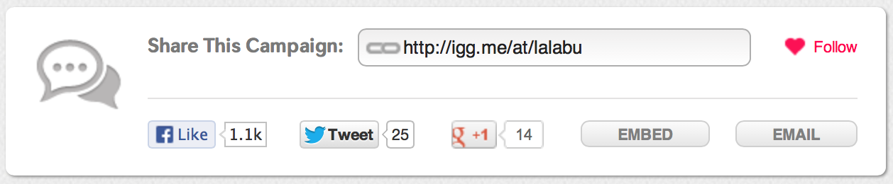 Indiegogo's share URL box