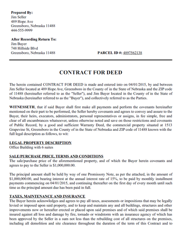 Contract For Deed Template Create A Free Contract For Deed
