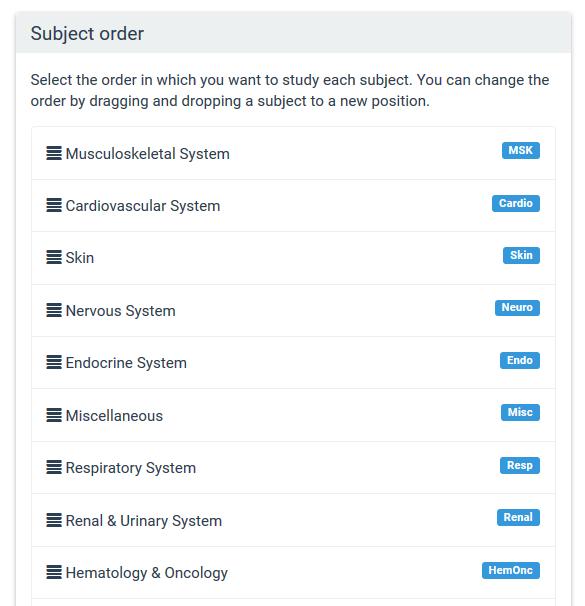 Subject order
