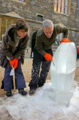 Heather Ackroyd and Dan Harvey setting up the Ice Garden