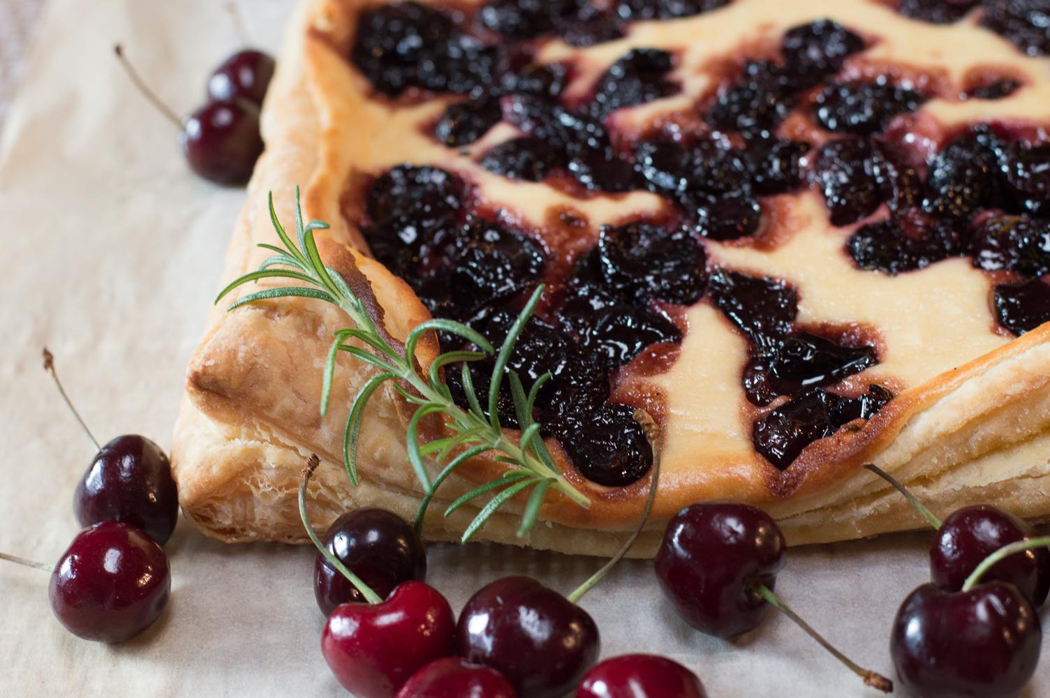 Cherry, Rosemary and Cream Cheese Tart