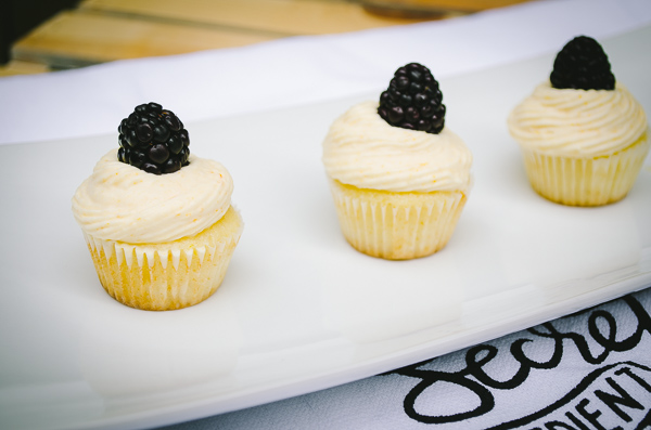 Mini Lemon Cupcakes with Passion Fruit Mousse Frosting