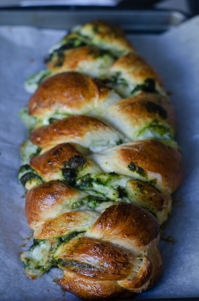 Pesto and Mozzarella Stuffed Challah