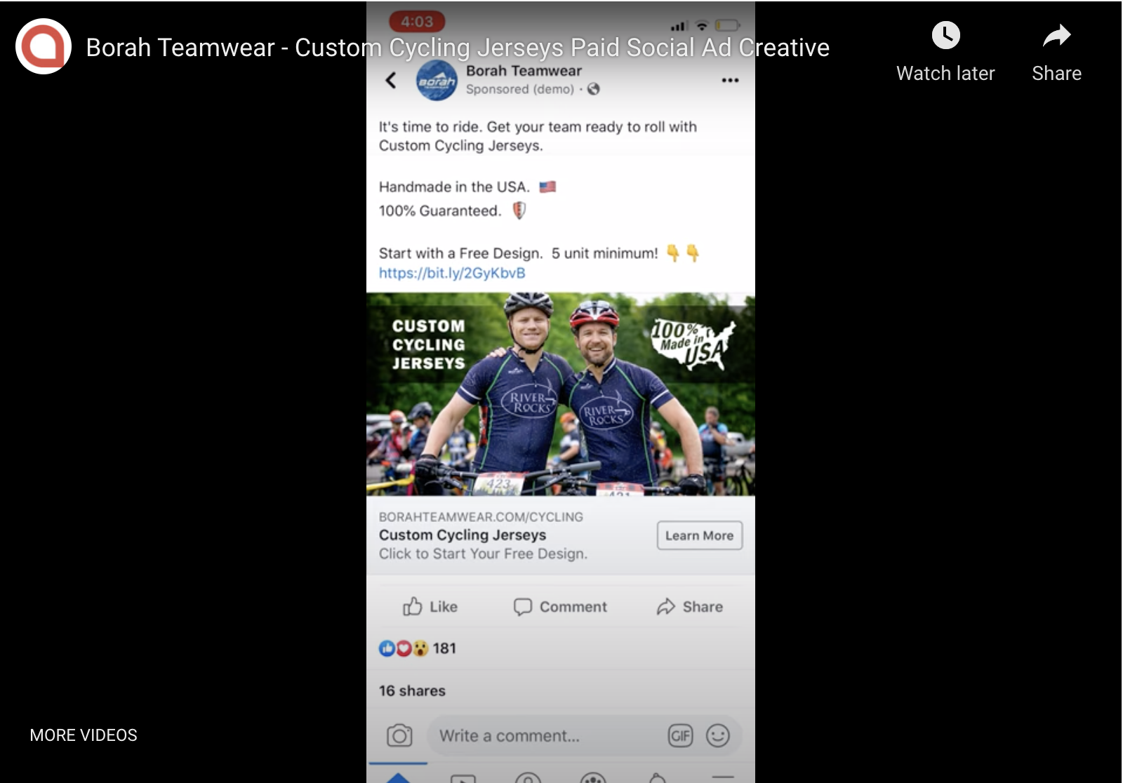 Borah Teamwear - Custom Cycling Jerseys Paid Social Ad Creative
