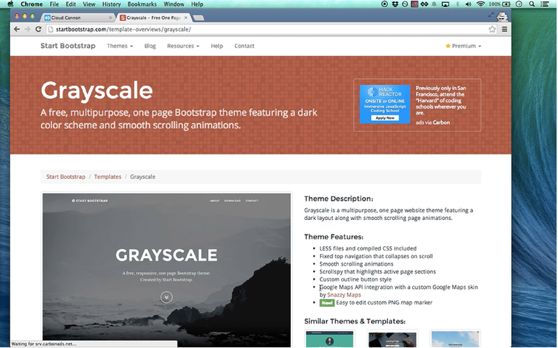 Selecting 'Grayscale' template