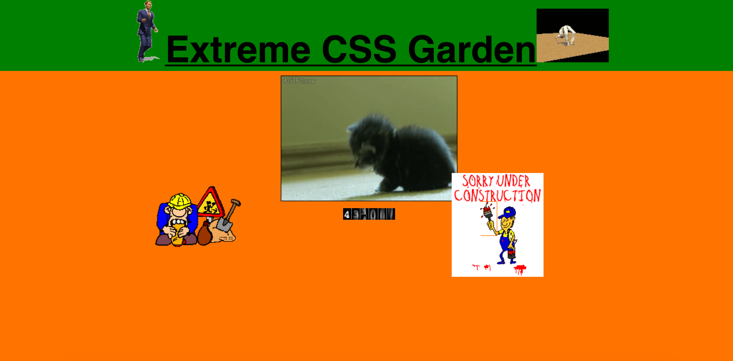 1990s styled version of Extreme CSS Zen Garden example with title and meta tags styled