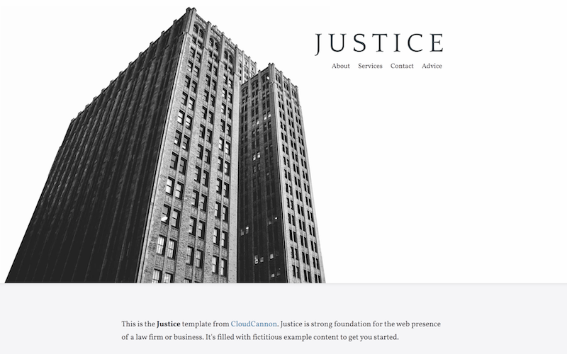 Screenshot of the 'justice' theme homepage