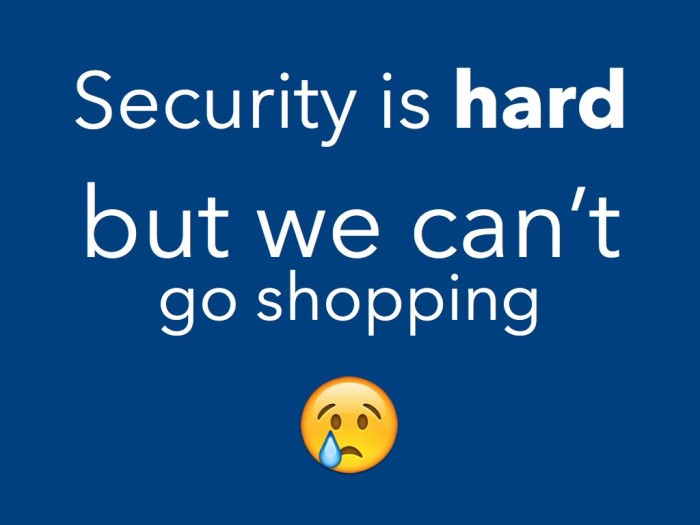 Security is hard but we can't go shopping