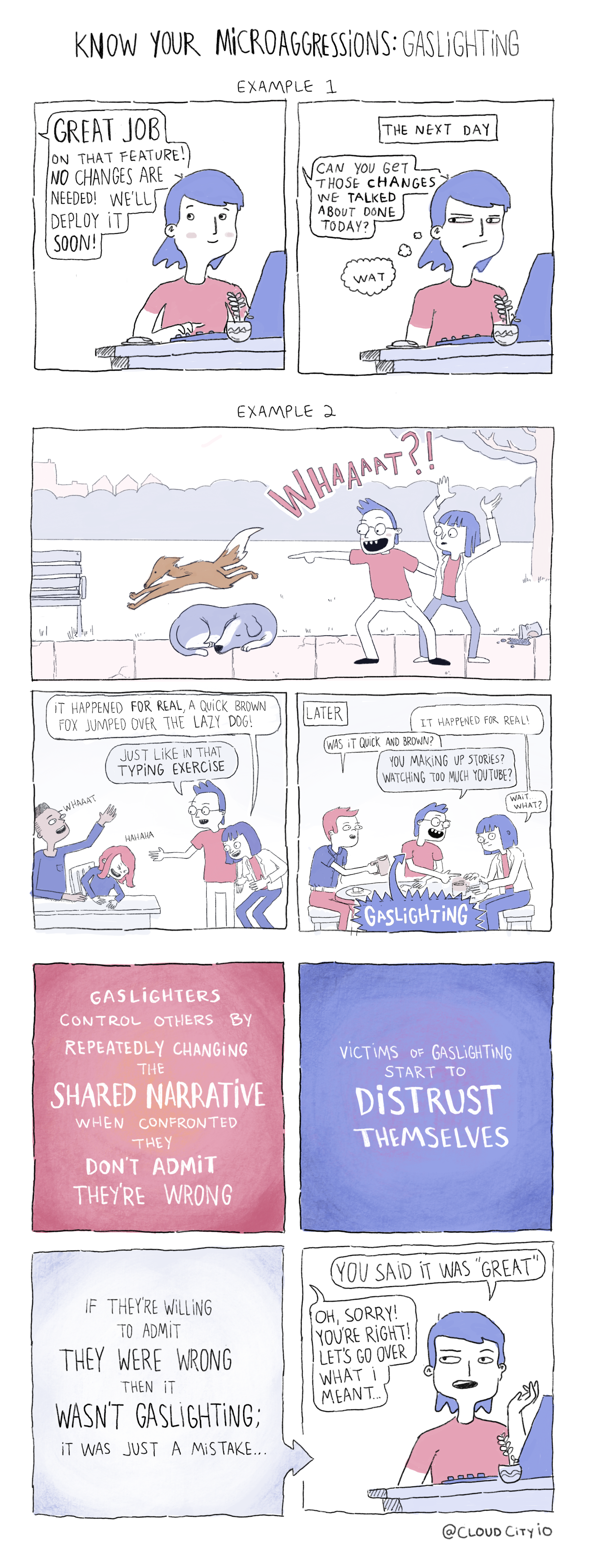 A comic portraying the dangers of gaslighting