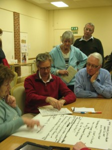 Russell Newton and community members exploring Isaac Newton's family connections in South Kesteven.