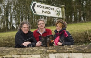 Richard White, Russell Newton and Ali Pretty help launch the Newton's Footsteps project