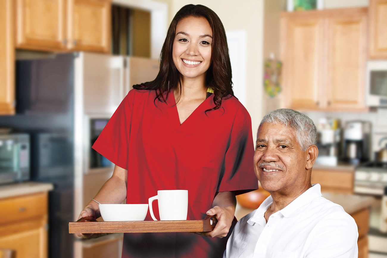 home care with caregiver serving african american client