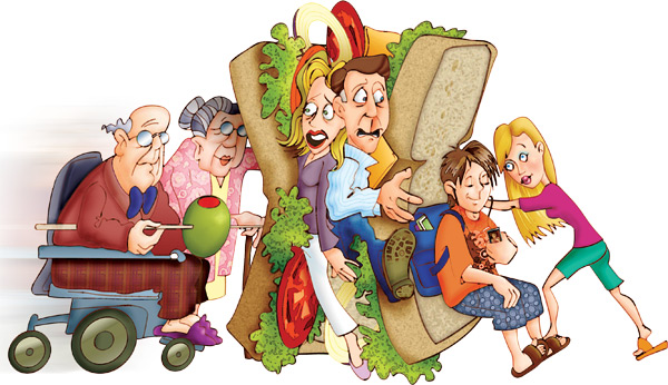 une famille dans la génération sandwich