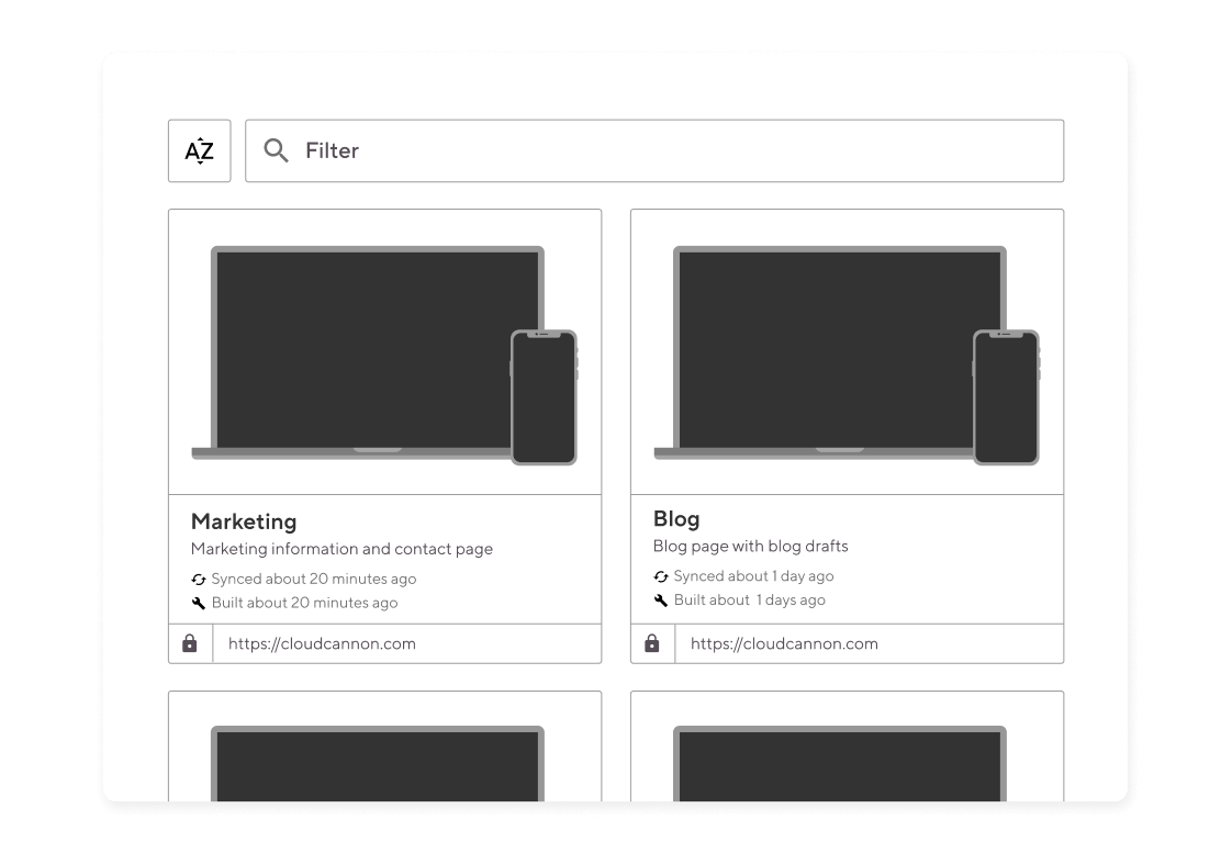 Interface showing multiple site projects with laptop and mobile previews