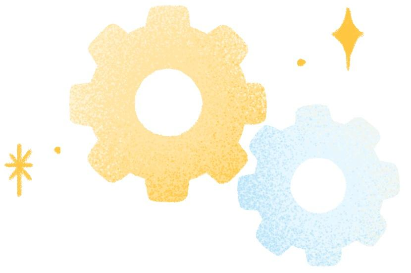 A large yellow and smaller blue gear