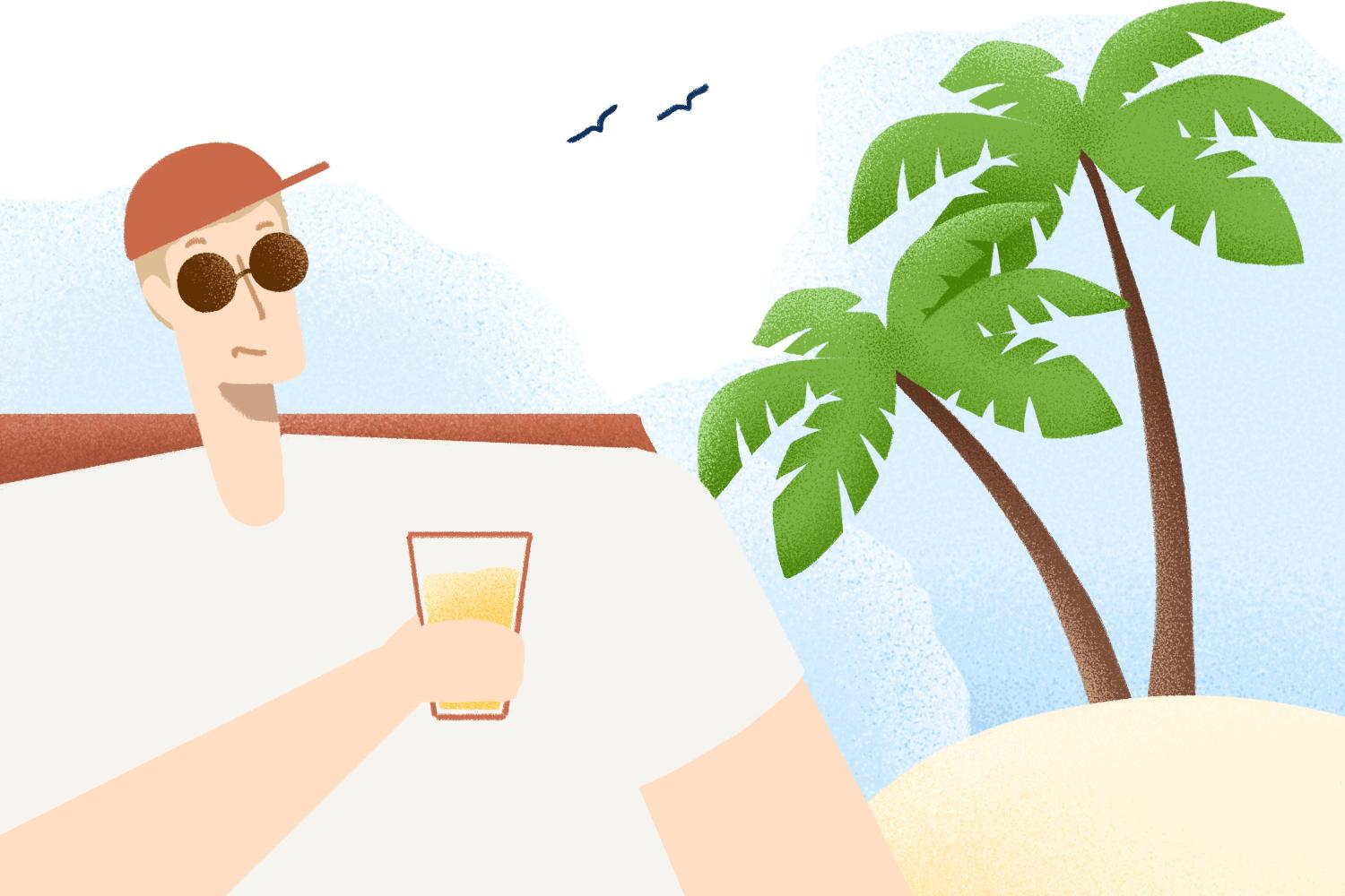 Person relaxing with a drink near the beach